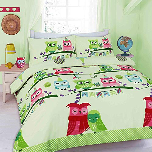 EGYPTO Pollycotton Owl Design Duvet Cover - Comforter with Matching Soft Pillowcase Set for Double Bed (Mint)