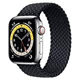 WAAILU Solo Loop Braided Band Woven Compatible for Apple Watch SE Series 6 40mm 44mm Compatible for Iwatch 5/4/3/2/1 38mm 42mm-(Charcoal-38/40-7)