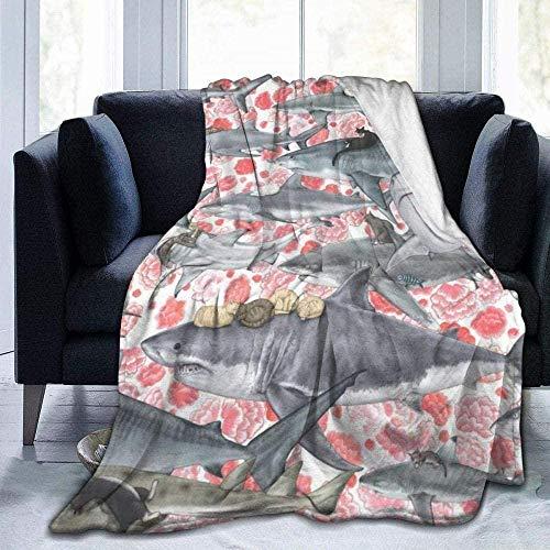 DWgatan Kuscheldecke Decke,Easy Care Super Warm Fleece Blanke Bed Throw,Cats Riding Sharks Bedruckte Bequeme Fleece-Decke Fit Couch BedSofa Chair-50 X40 (130 * 100 cm)
