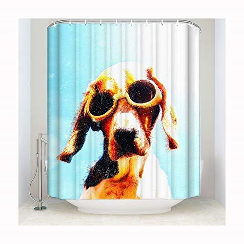 Anwaz Duschvorhang Polyester Hund Tragen SonneBrille Design Vorhang Waschbar Badewannenvorhang für Badezimmer & Badewanne 183x214CM