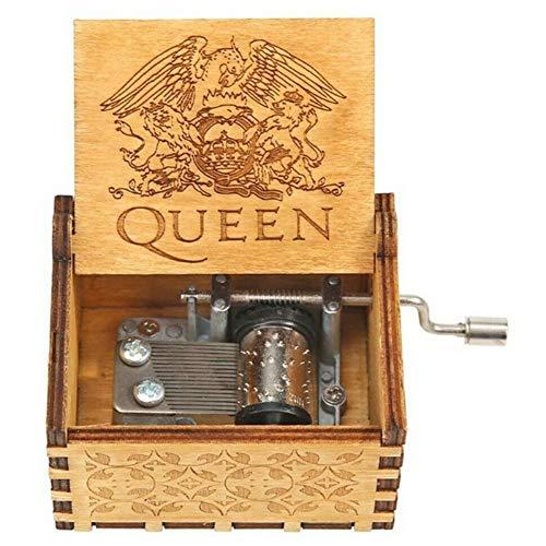 PanDaDa Spieluhr Queen aus Holz graviert Weihnachten Musik-Box Kurbel Rhapsodie Bohemian ideal Spielzeug Geschenk für Jungen Mädchen Kinder