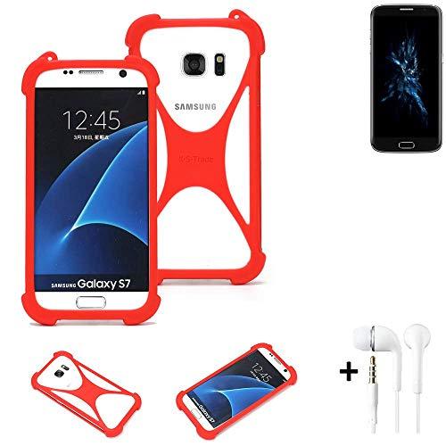 K-S-Trade® Handyhülle + Kopfhörer Für Bluboo Edge Schutzhülle Bumper Silikon Schutz Hülle Cover Case Silikoncase Silikonbumper TPU Softcase Smartphone, Rot (1x),