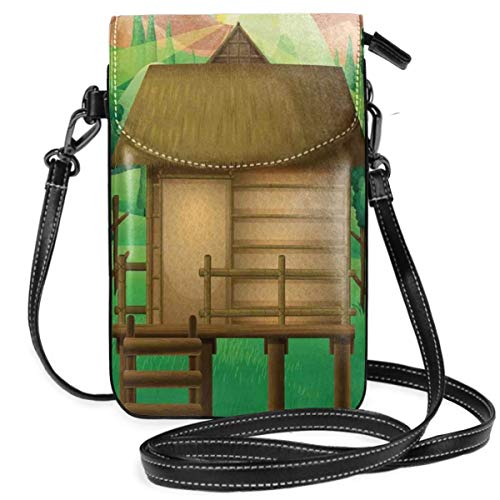Women Small Cell Phone Purse Crossbody,3D Digital Art Illustration Of A Wooden Hut Shelter In The Forest And Shining Sun