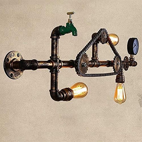 Lámpara de Pared de Moda 3 Luces Lámparas de Pared Retro Cadena Tubería de Agua Grifo Luces de Pared Industria Viento E27 Enchufe Linterna de Pared Restaurante LightBar Pared