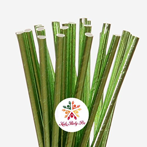 Green Foil Paper Straws, 100 pieces