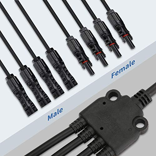 Generies Y Branch Solar Panel Connectors, 1 to 4 Solar Parallel Adapter Cable Tool Kit for Solar Panel Parallel Connection(M/FFFF and F/MMMM)