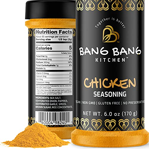 Bang Bang Kitchen Chicken Seasoning | Poultry Spice & Dry Rub for Grilling, Smoking, BBQ & Cooking | Non-GMO, Vegan Preservative Free & Gluten Free Rotisserie, Wings & Thighs 1 6oz Bottle Made in USA