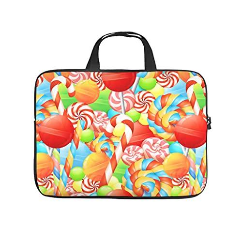Facbalaign Bolsa para ordenador portátil con dibujos animados, caramelos en cualquier lugar, bolsa de mensajero, impermeable, suave, resistente al desgaste, con asa., blanco, 10 pulgadas,