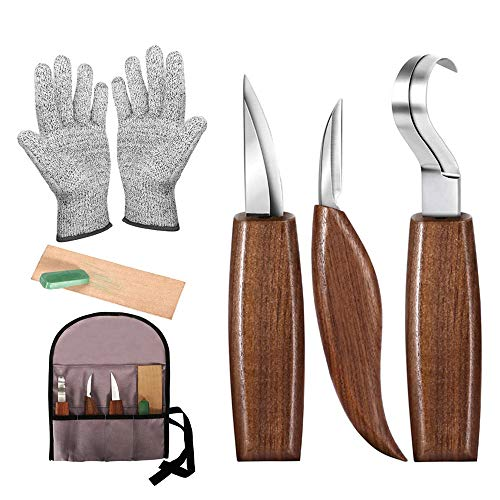 Wood Carving Tools, 7pcs Wood Carving Kit with Carving Hook Knife, Wood Whittling Knife, Chip Carving Knife, Gloves, Carving Knife Sharpener for Beginners Woodworking kit