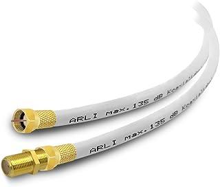 HD Sat Verlängerungskabel 10 m Anschlusskabel vergoldet Satkabel 135 dB 5 fach geschirmt 4K TV konfektionierte Koaxialkabel Koax Kabel Digital Antennenkabel ARLI 10m weiss
