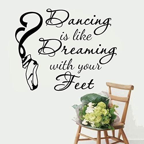 Pegatinas de Pared Bailar es como soñar con los pies Citas Decoración Calcomanías para Habitaciones de niñas Bailarina Bailarina Zapatos de Ballet Murales 94x76cm