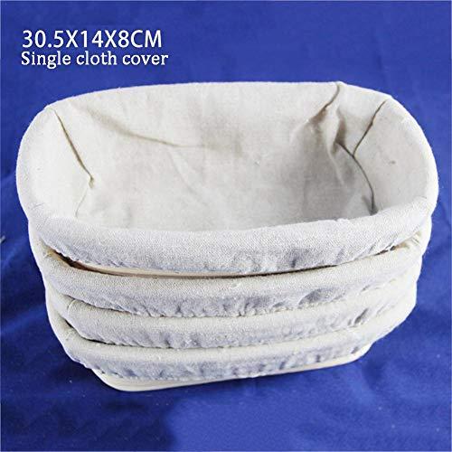 Cesta rectangular para fermentación de pan europeo rectangular para fermentación de pan rústico, cesta para fermentación de pan de ratán para el hogar, Funda de tela única., 30.5X14X8CM