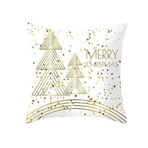 my cat Fundas de almohada blancas de nieve para regalo de Año Nuevo para el sofá del hogar, fundas de almohada decorativas de Navidad, 45 x 45 cm, PC11997