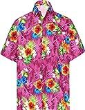LA LEELA Men's 3D HD Hibiscus Flower Button Down Short Sleeve Hawaiian Shirt L Pink_W578