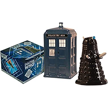 The Unemployed Philosophers Guild Doctor Who TARDIS vs Dalek Salt and Pepper Shaker - BBC Licensed