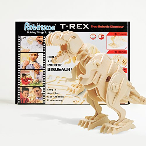 ROBOTIME 3D Puzzle - Dinosaurier Holz Spielzeug - Gehender roboterartiger T-Rex - Modellbau Steckpuzzle Dino Holzbausatz - Holzpuzzle Basteln - Geschenk für Geburtstag Weihnachten für Jungen und Mädchen 6, 7, 8 Jahre und Älter