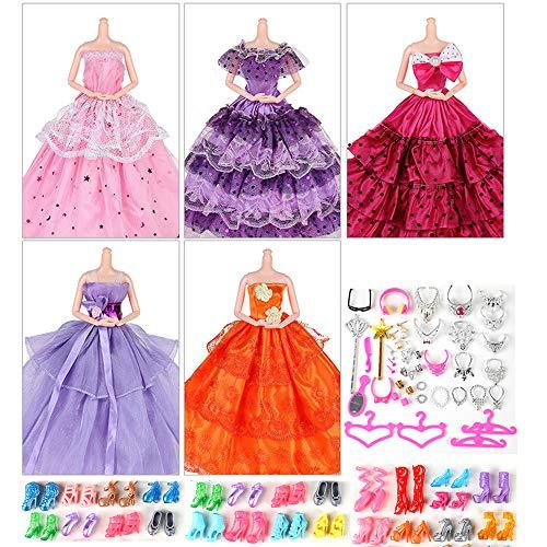 witgift 55 accesorios de ropa para muñecas Barbie 5 sets de vestidos, 30 piezas de accesorios de joyería, collares, espejo, perchas, 20 pares de zapatos para muñecas de niña de 30 cm