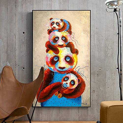 DIY Pintar por números Imágenes de animales lindos y divertidos de acuarela panda art pintar por numeros principiante Con pincel y pintura acrílica pintura para adultos por nú40x60cm(Sin marco)