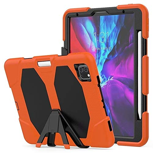 GHC PAD Cases & Covers For iPad Pro 11 2nd Generation 2020, Kids Safe Rubber Silicone Shockproof Armor KickStand Case for iPad 11 2020 (Color : Orange)