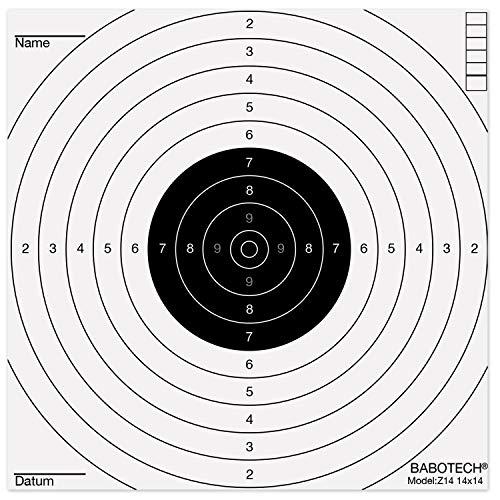 Babotech 100 x Luftgewehr Zielscheiben 14x14cm für Pistole Luftgewehr Airsoft [ Target Zielscheibe für Kugelfang ]