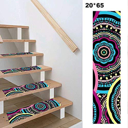 LUOSFUH 13 Stück Böhmische treppenstufen matten stufenmatten/treppenstufen antirutsch Teppiche 20 x 65 cm rutschfeste Läuferteppiche für Innentreppen Treppen&Fußboden 06