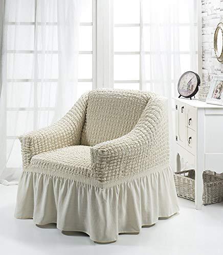 My Palace Aurora Sesselschoner 1 Sitzer Stretch und antirutsch Sesselhusse Fernsehsessel Bezug elastischer Sesselüberwurf mit Schaumstoffankern, 70-120cm Creme