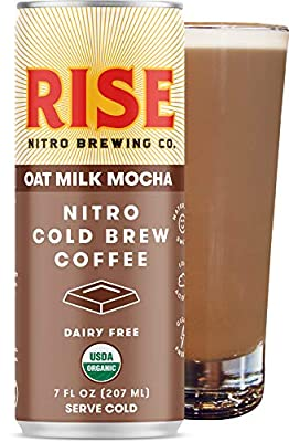 RISE Brewing Co. | Oat Milk Mocha Nitro Cold Brew Latte | Vegan & Non-Dairy | Organic, Non-GMO | Low Acidity | 7 fl. oz. Cans (12 Pack)
