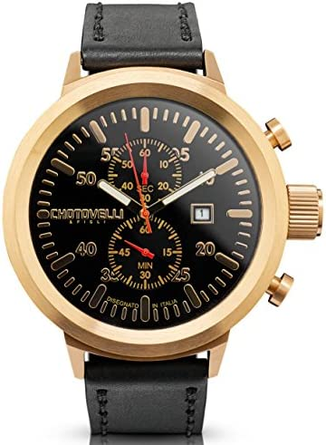 Chotovelli Men's Big Pilot Chronograph Watch Sapphire Italian Leather Band 747.100