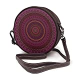 Bandolera para mujer, bolso de hombro, para vacaciones, viajes, verano, moda, círculo, color morado oscuro