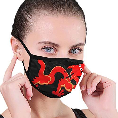 ghjkuyt412 Pauelo a prueba de polvo sin costuras rojo dragn chino cara cubre bufanda reutilizable