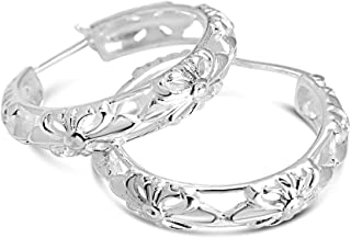 925 Solid Sterling Silver Filigree Latch-Back Dangling...
