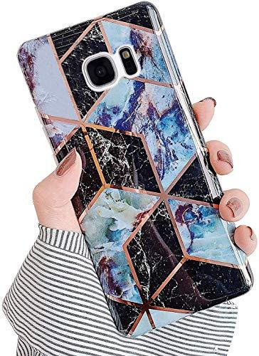 Saceebe Compatible avec Samsung Galaxy S7 Coque Silicone Motif Dessin Marbre Housse Étui de Protection Girly TPU Gel Souple Lustré Antichoc Ultra Fine Mince Léger Case Cover,Noir Violet