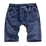 Shorts Jeans for Men, F_Gotal Men's Casual Solid Drawstring Elastic Waist Big&Tall Relaxed Fit Pleated Jeans Shorts Dark Blue