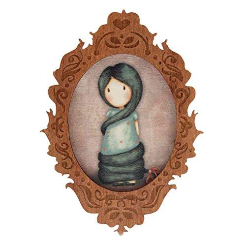 Spilla Gorjuss in legno–Rapunzel