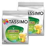 Tassimo Twinings Té verde y Menta, Paquete de 2, 2 x 16 T-Discs