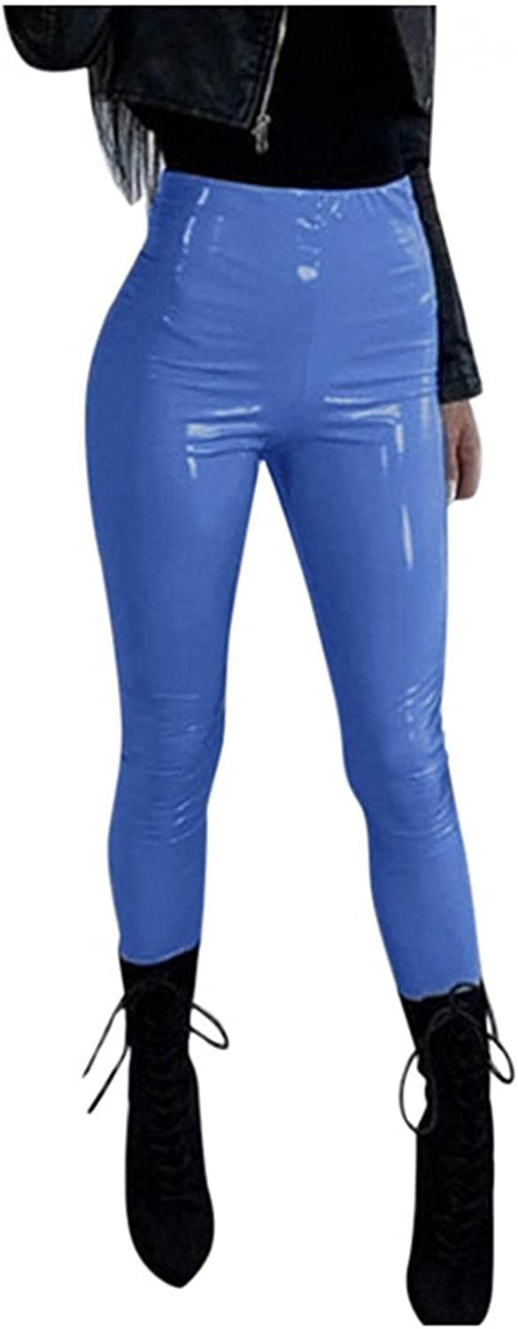 WOSHUAI Women's Sexy Black Leather Pants Faux Leather Leggings Plus Size Girls High Waisted Skinny Pants
