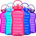 QuiFit Gallon Motivational Water Bottle - w/Time Marker & Strainer & Portable Handle,Wide Mouth,BPA Free,128 oz Large Sport Fitness Water Jug,Perfect for Monitoring Water Intake(1 Gallon,Pink)
