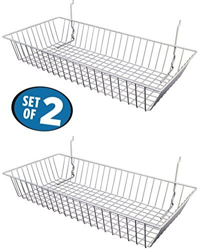 """White Wire Baskets for Slatwall and Gridwall (Set of 2), Merchandiser Baskets,for Retailers or Home Use, White Vinyl Coated Wire Baskets, 24"""" L x 12"""" D x 4"""" H, Shallow Baskets"""