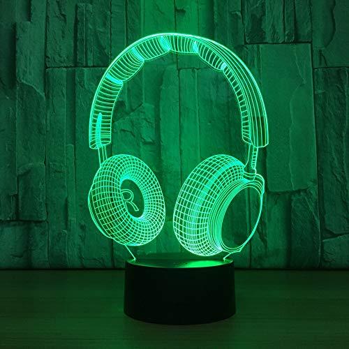 LIkaxyd 3D Lampe Led Täuschung Nachtlicht, 7 Farbwech Ändern Berühren Sie Schreibtisch Lampe,Das Perfekte Weihnachts- Und Neujahrsgeschenk Für Kinder[Energieklasse A+]Neue Kopfhörer