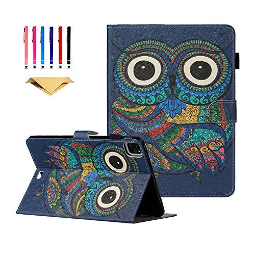 iPad Pro 11 Case DTangLsm iPad Pro 11 Case 2020 Smart PU Leather iPad Pro Case Stand w/Auto Wake/Sleep & Card Slots Compatible with iPad Pro 11 inch 2nd Generation 2020/1st Generation 2018, Owl