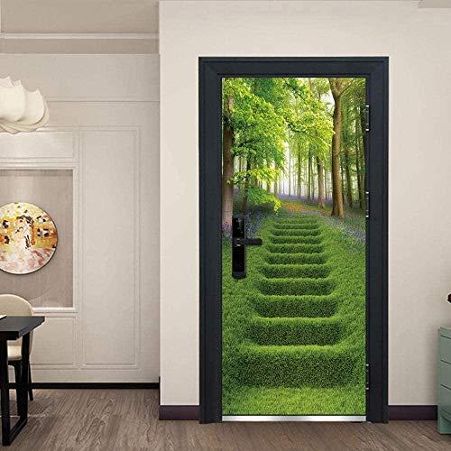 EtiquetaDeLaPuerta 3D S Para Puertas Interiores Pegatinas De Pared Autoadhesivas De Pvc Para Decoración Del Hogar Escalera Verde De 77 * 200 Cm