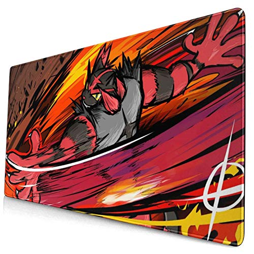 Incineroar Poke Large Gaming Mouse Pads XXL Extended Mat Desk Pad Mousepad with Non-Slip Computers Laptop Office&Home 750×400×3mm (29.5×15.8×0.12 Inch)