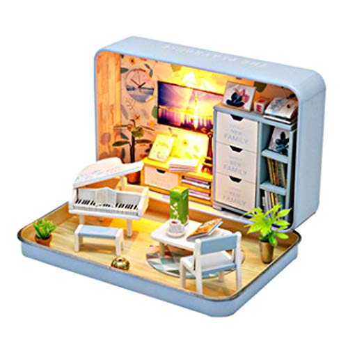 [リトルスワロー] ミニチュア ドールハウス DIY ボックス シアター BOX 缶 LED付き インテリア 雑貨 模型 工作 おしゃれ 可愛い ギフト 置物 部屋 情景 こども ルーム 照明 コーヒースタンド 音楽 (ミュージック缶)