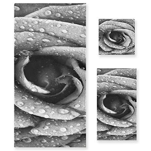 Juego de Toallas de baño de Lujo de algodón de 3 Piezas para Mujeres, Hombres, baño, Cocina, 1 Toalla de baño, 1 Toallas de Mano, 1 toallitas-Art Grey Water Drop Rose