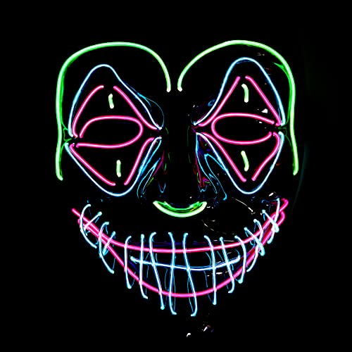 yumcute Halloween LED Máscaras, Mascaras Carnaval de Terror con 3 modos de iluminación, Fresco LED MáScara Luminosa, Divertido Craneo Esqueleto Mascaras para la Fiesta de Disfraces la Navidad Cosplay