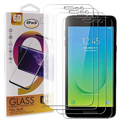 Guran 4 Paquete Cristal Templado Protector de Pantalla para Samsung Galaxy J2 Core Smartphone 9H Dureza Anti-Ara?azos Alta Definicion Transparente Película