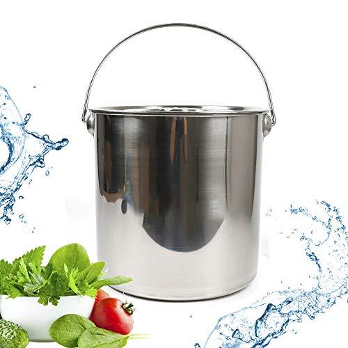 Edelstahl-Eimer - Küchen-Eimer , Lebensmittel-Eimer , Eiskübel Champagner-Kühler-Eimer mit Griff und Deckel 12L