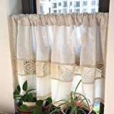 MANG Cortinas De Cocina De Algodón Beige Half Cafe Cortina Cenefa De Ventana para Bistro Blackout Hollow Crochet Lace with Rod Pocket