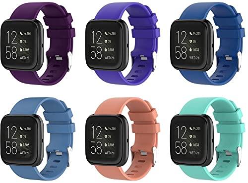 Chainfo Correa de Reloj Compatible con Fitbit Versa 2 / Versa 2 SE/Versa Lite/Versa smartwatch, Blando Silicona Narrow Delgada Deporte Reemplazo Pulsera (6-Pack H)
