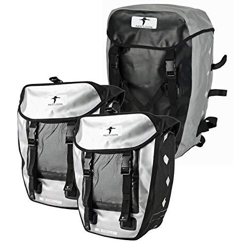 Red Loon 3er Set 2 x robuste Fahrradtasche aus LKW-Plane 1 x Fahrrad-Rucksack – wasserdichte Doppelpacktasche + Rucksack in Silber
